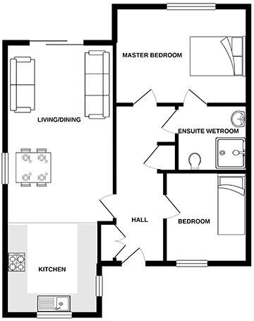 The Buddleia bungalow floor plan.