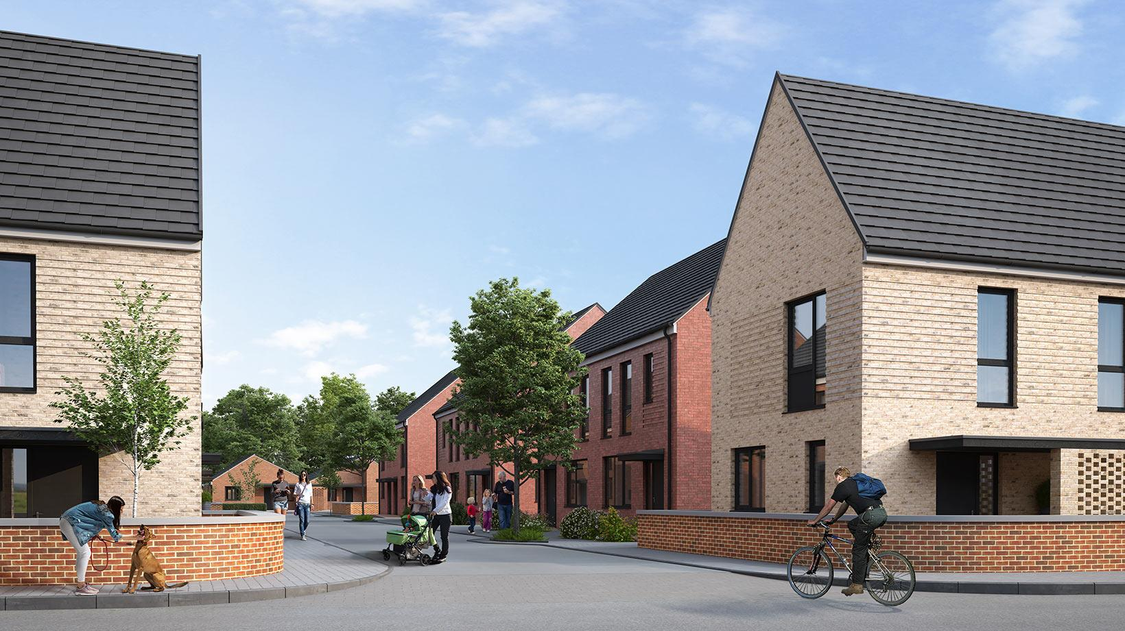 An external view of some of the properties from the Lowfield Green development by Shape Homes York.