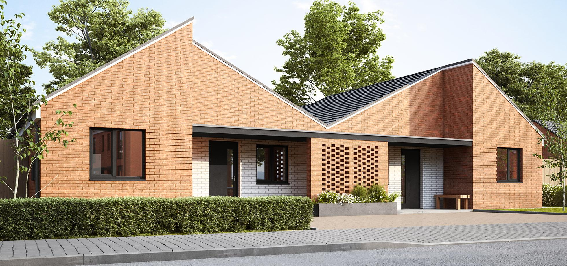 An external view of the Buddleia bungalow at Lowfield Green from Shape Homes York.