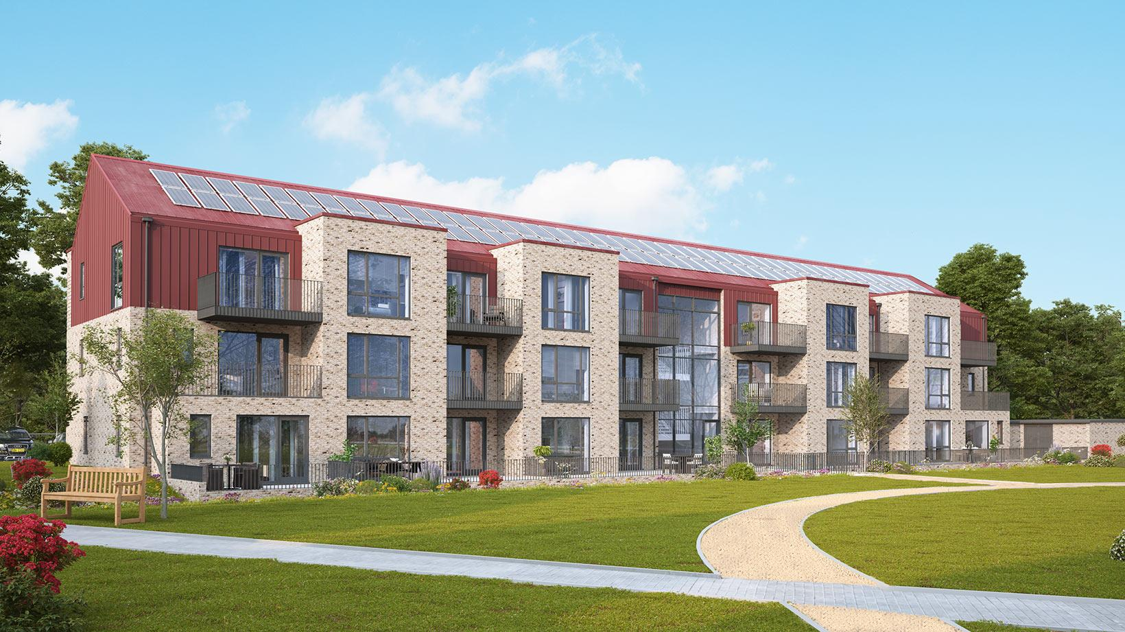 An image of apartments from the Shape Homes York housing development
