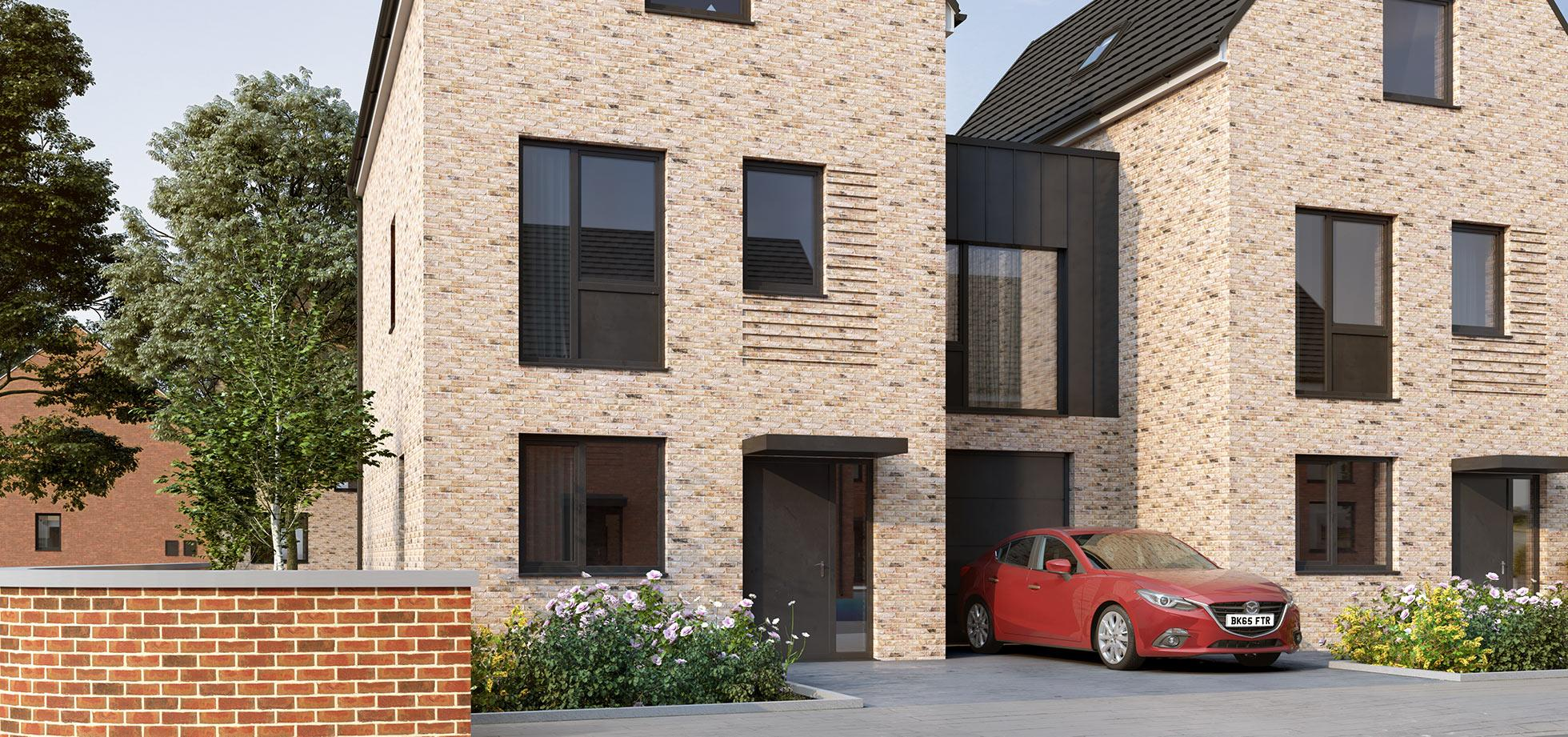 An image of a town house from the Shape Homes York housing development