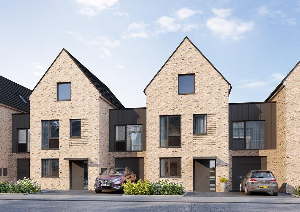 An image of a row of houses from Shape Homes York development.