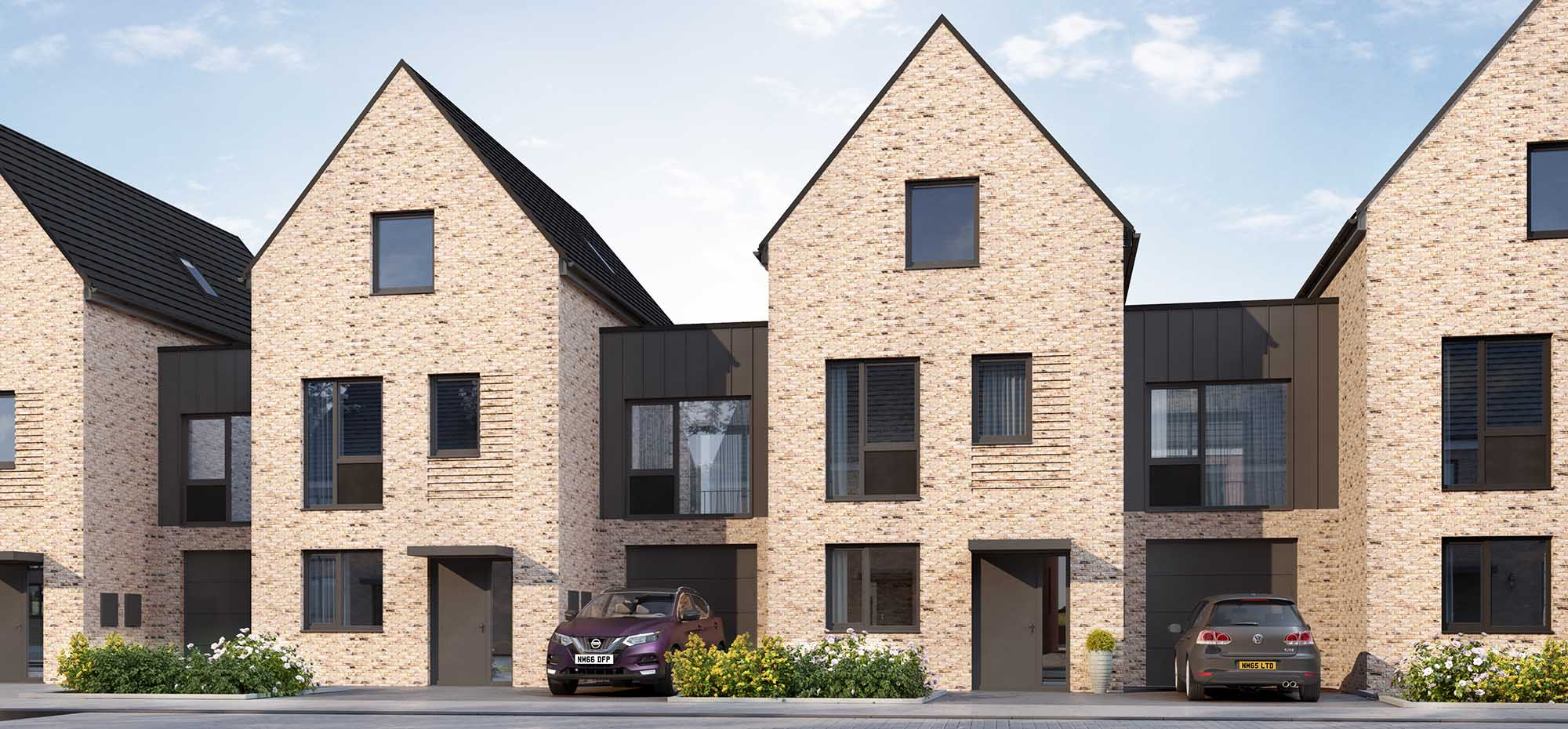This image shows an external view of the Bellflower four bedroom, mid-townhouse from Shape Homes York.
