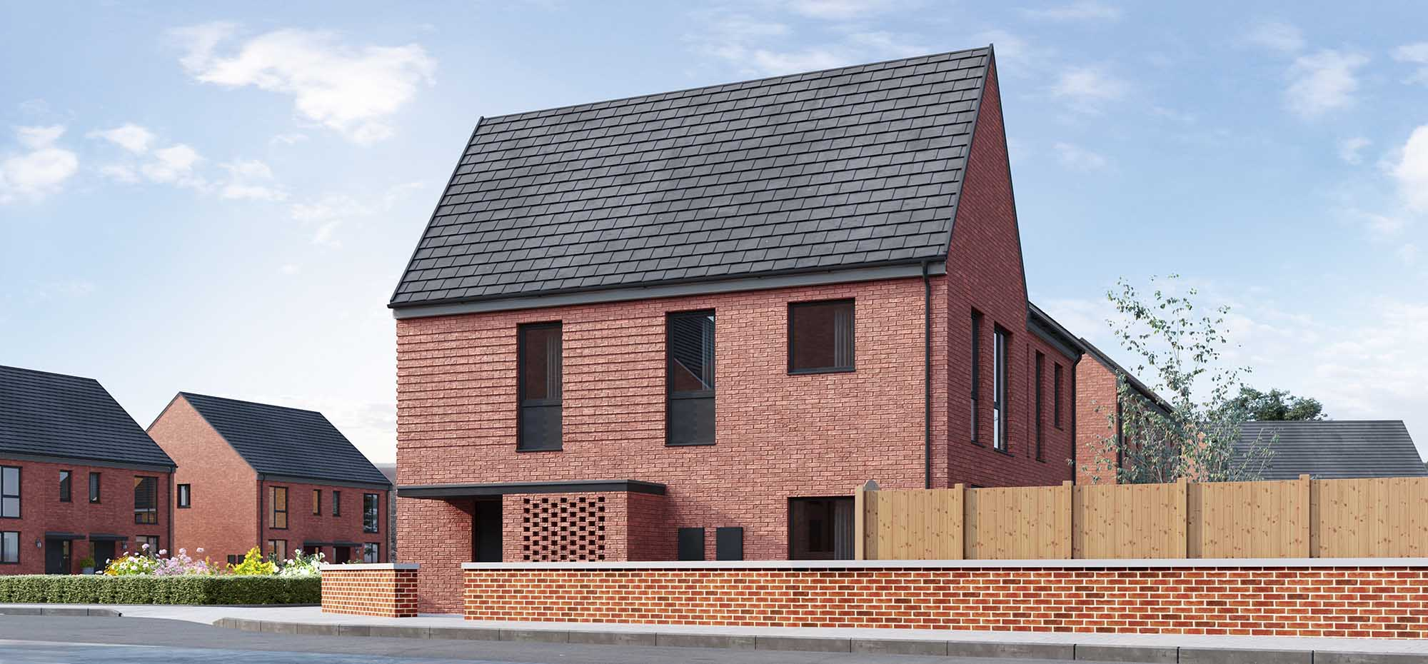 This image shows an external view of the Betony three bedroom, corner house from Shape Homes York.
