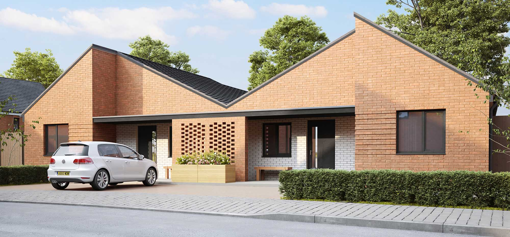 This image shows the external view of the Bluebell bungalow from Shape Homes York.