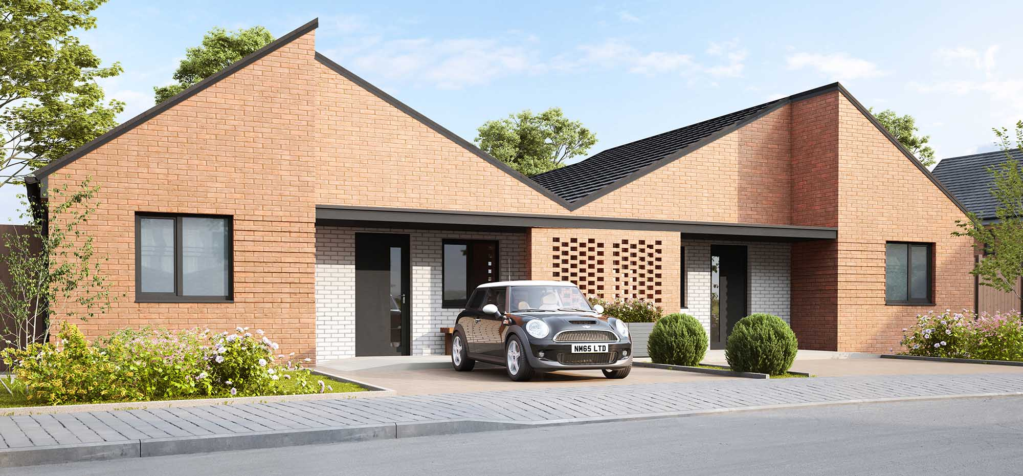 This image shows an exterior view of the Shape Homes York Buddleia bungalow.