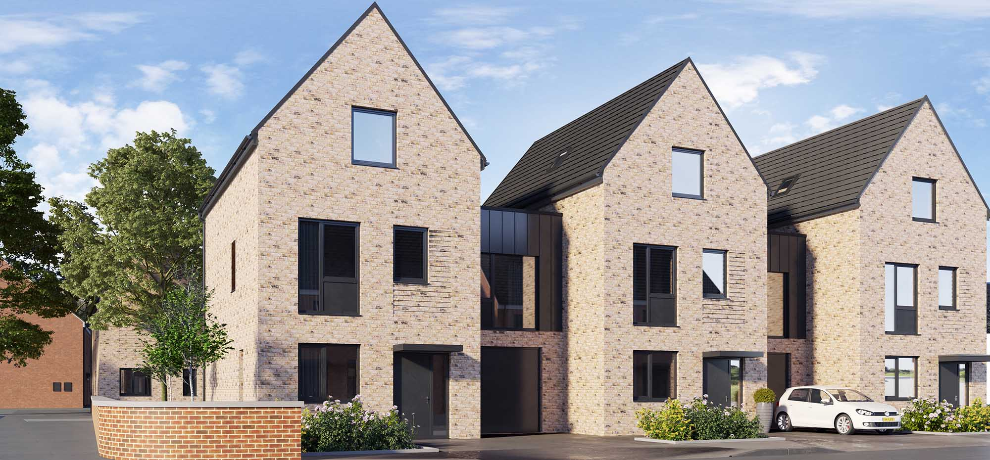 This image shows an external view of the Cowberry four bedroom, end-townhouse from Shape Homes York.