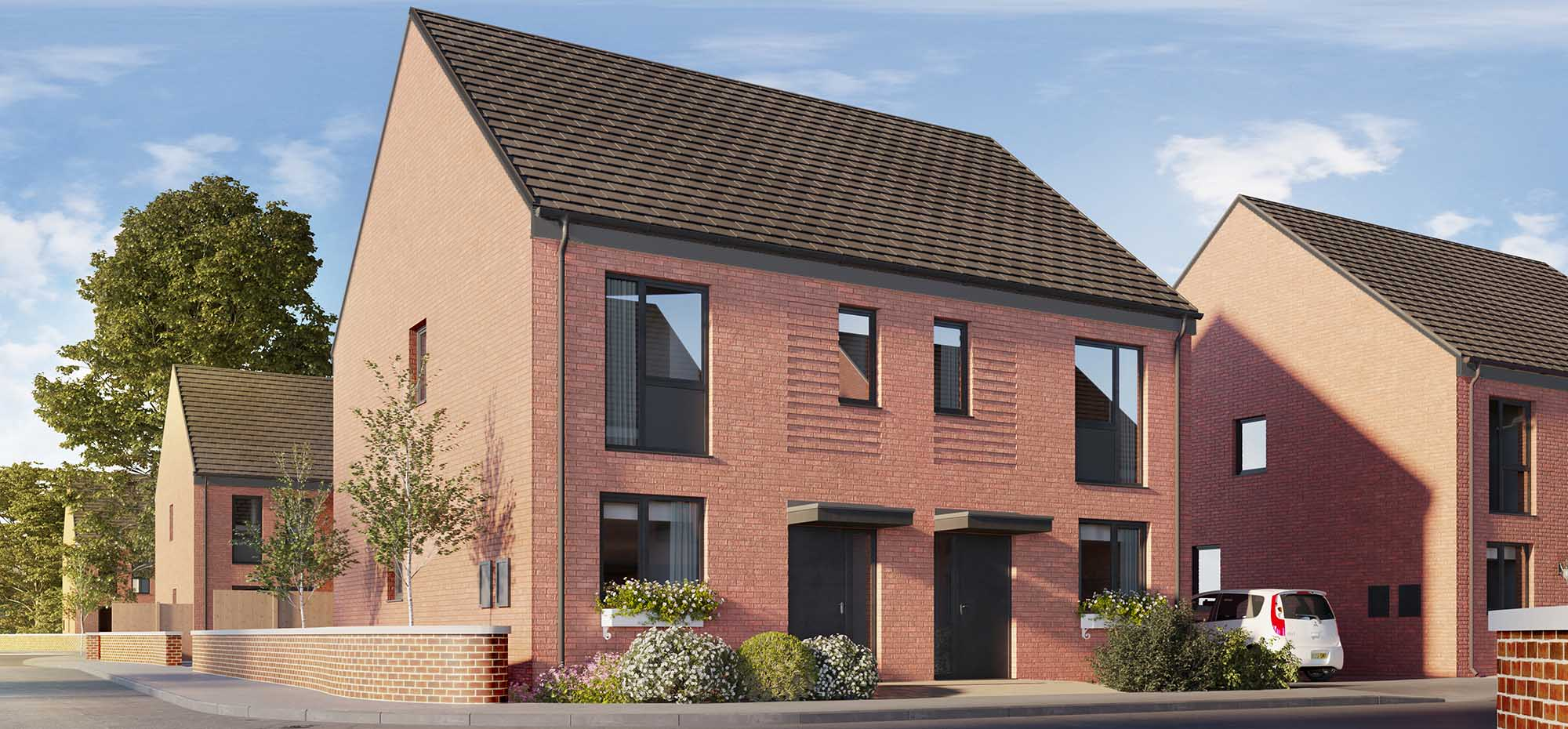 This image shows an external view of the Fern three bedroom, semi-detached house from Shape Homes York.