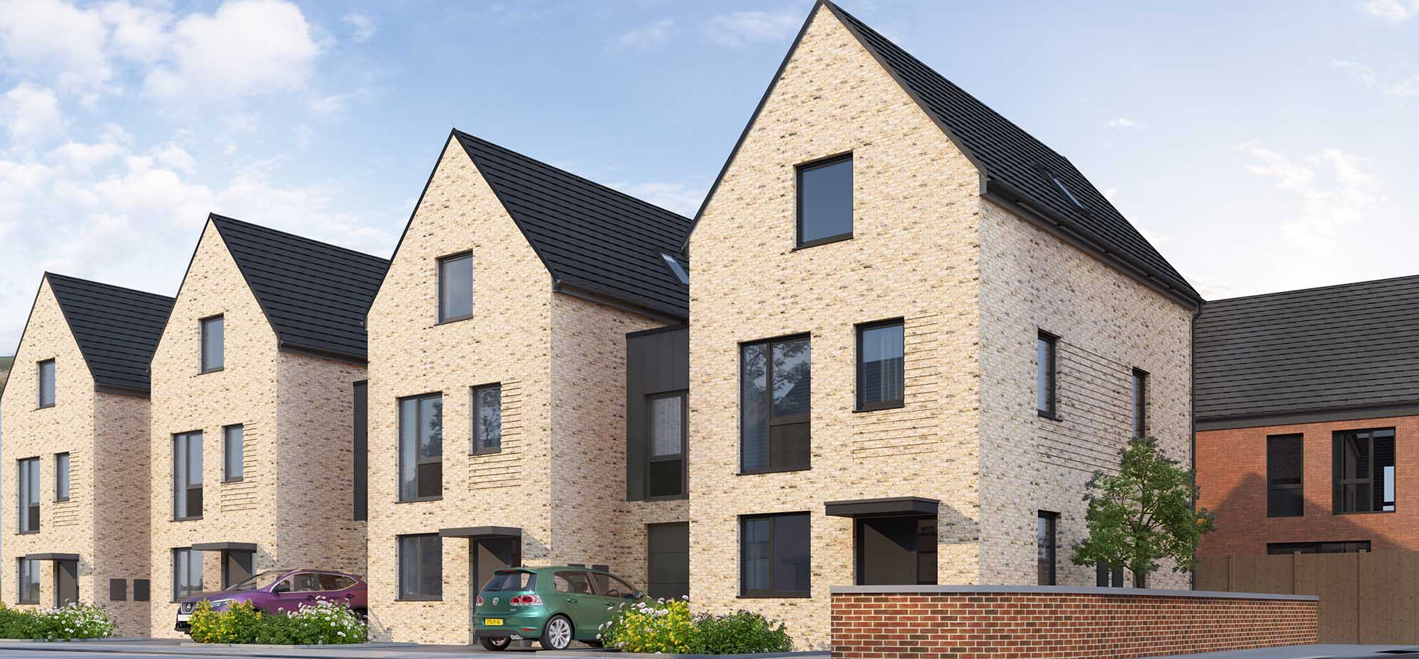 This image shows an external view of the Hollyhock three bedroom, townhouse from Shape Homes York.