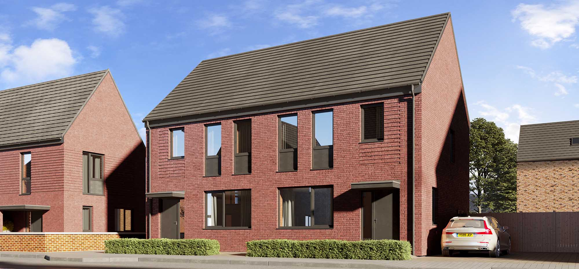 This image shows an external view of the Thyme three bedroom, semi-detached house from Shape Homes York