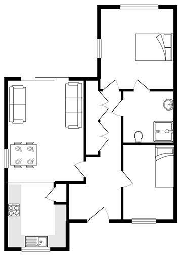 The Violet bungalow floor plan.