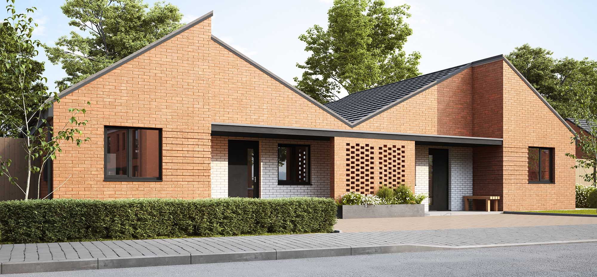 This image shows an external view of the Violet bungalow from Shape Homes York.